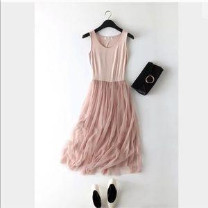 Sweet pink tulle tank dress